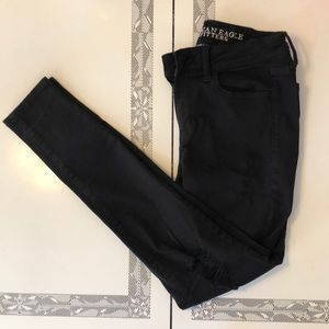black ripped super stretch jeans